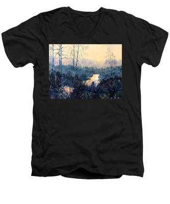 Last Light On Skipwith Marshes Men's V-Neck T-Shirt