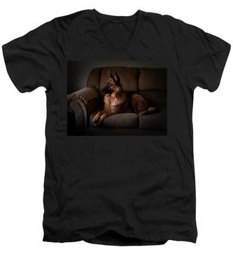 Looking Out The Window - German Shepherd Dog Men's V-Neck T-Shirt
