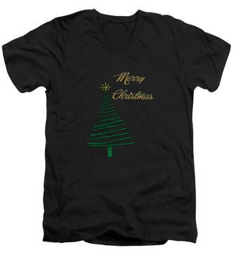 Merry Christmas Tree Men's V-Neck T-Shirt