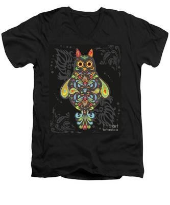 Paisley Owl Men's V-Neck T-Shirt
