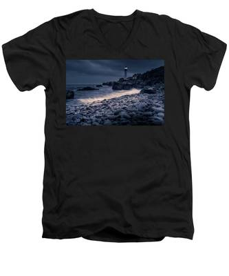 Stormy Lighthouse 2 Men's V-Neck T-Shirt