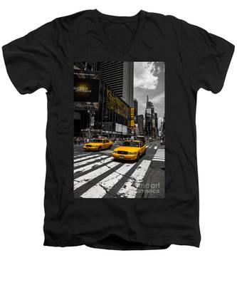Yellow Cabs Cruisin On The Times Square  Men's V-Neck T-Shirt
