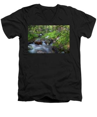 Long Exposure Shot Of A Mountain Stream Men's V-Neck T-Shirt by Kyle Lee