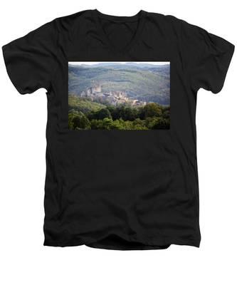 Chateau Beynac, France Men's V-Neck T-Shirt
