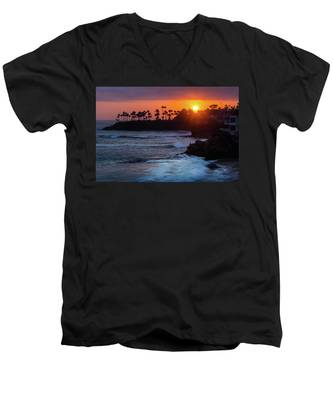 Colorful Laguna Beach Sunset Men's V-Neck T-Shirt