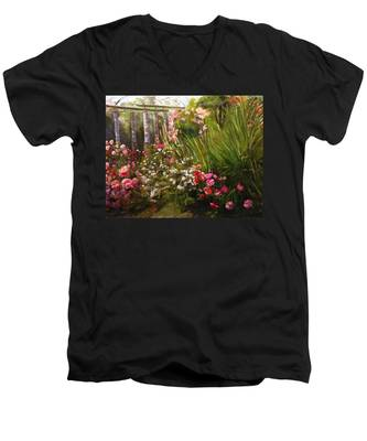 Columns At Evergreen Arboretum Men's V-Neck T-Shirt