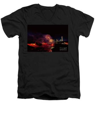 Fireworks Over The Falls. Men's V-Neck T-Shirt