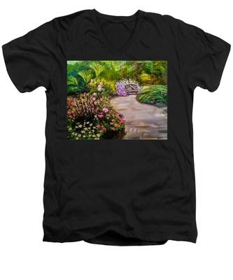 Path To The Garden Bench At Evergreen Arboretum Men's V-Neck T-Shirt