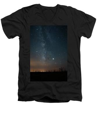 Men's V-Neck T-Shirt featuring the photograph Milky Mesa by Kyle Lee