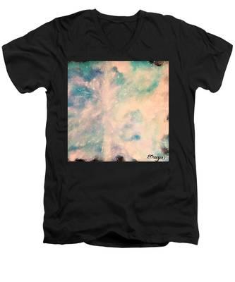 Turquoise Cosmic Cloud Men's V-Neck T-Shirt