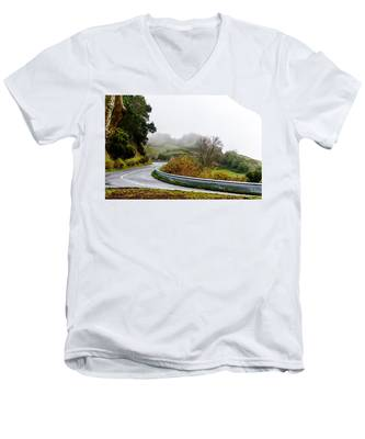 Men's V-Neck T-Shirt featuring the photograph The Winding Road by Joseph Amaral
