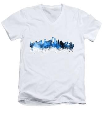 Seattle Washington Skyline Men's V-Neck T-Shirt