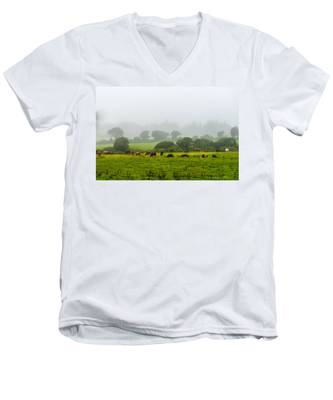 Men's V-Neck T-Shirt featuring the photograph Cows At Rest by Joseph Amaral