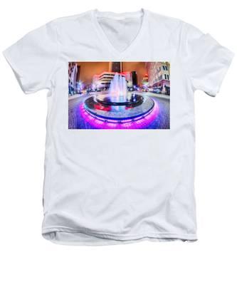 Tulsa City Skyline Around Downtown Streets Men's V-Neck T-Shirt