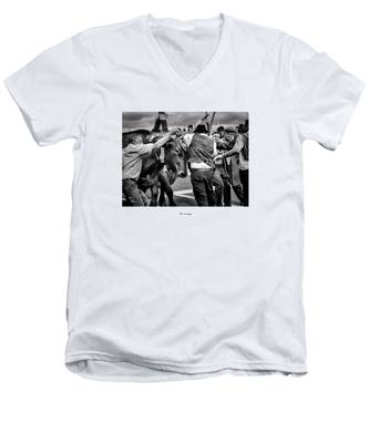 Men's V-Neck T-Shirt featuring the photograph Over The Hills And Far Away by Joseph Amaral