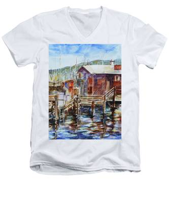 At Monterey Wharf Ca Men's V-Neck T-Shirt