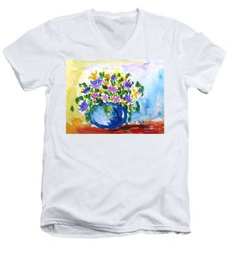Bouquet Of Flowers In A Vase Men's V-Neck T-Shirt