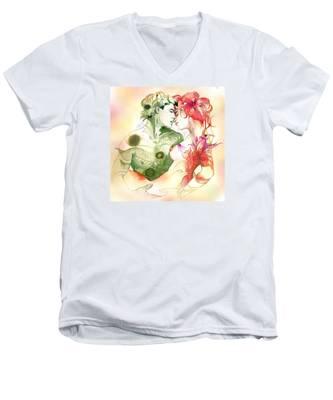 Flower And Leaf Men's V-Neck T-Shirt