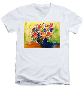 Flowers In A Vase Men's V-Neck T-Shirt
