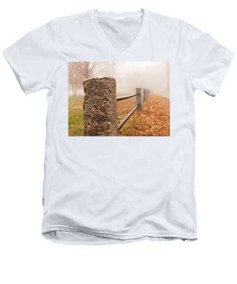 Men's V-Neck T-Shirt featuring the photograph Foggy Morning In Ellington by Kyle Lee