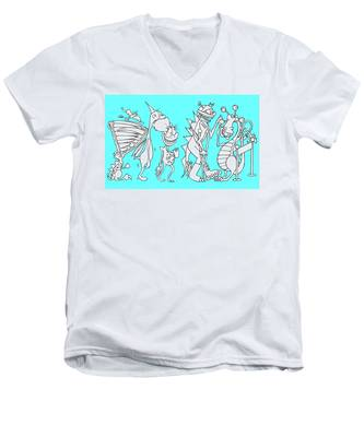 Monster Queue Blue Men's V-Neck T-Shirt