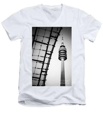 Munich - Olympiaturm And The Roof - Bw Men's V-Neck T-Shirt