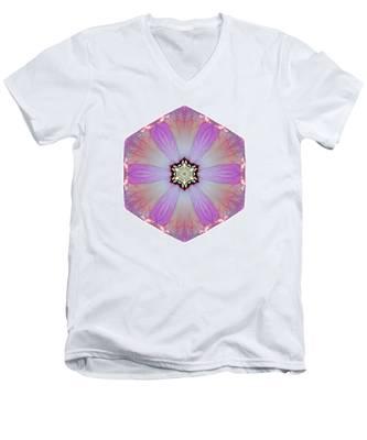 Pink And White Hibiscus Moscheutos I Flower Mandala White Men's V-Neck T-Shirt