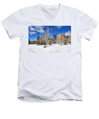 Snowy Aspen Grove Men's V-Neck T-Shirt
