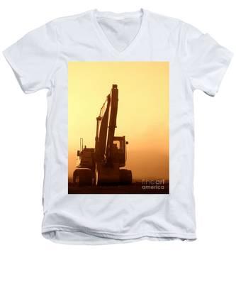 Sunset Excavator Men's V-Neck T-Shirt