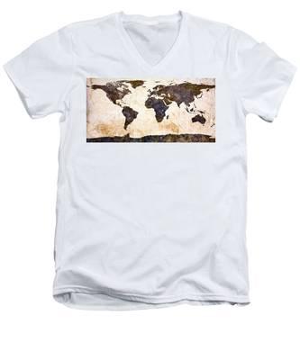 World Map Abstract Men's V-Neck T-Shirt
