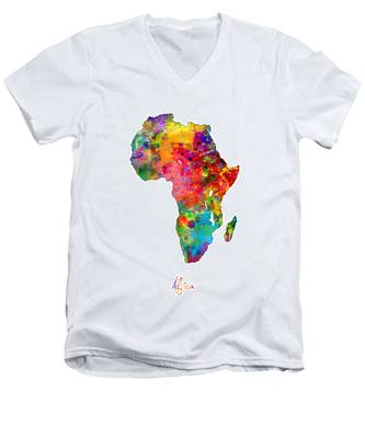 Africa Watercolor Map Men's V-Neck T-Shirt