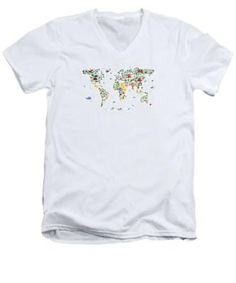 Animal Map Of The World For Children And Kids Men's V-Neck T-Shirt