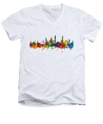 Bangkok Thailand Skyline Men's V-Neck T-Shirt