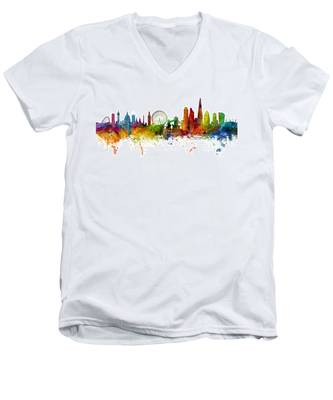 London England Skyline Panoramic Men's V-Neck T-Shirt