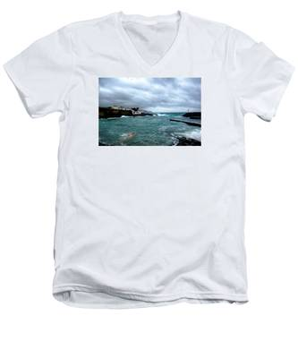 Men's V-Neck T-Shirt featuring the photograph Waves-71 by Joseph Amaral