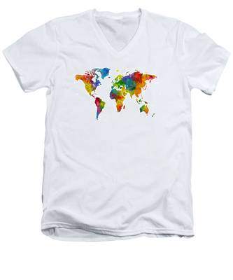 Map Of The World Map Watercolor Men's V-Neck T-Shirt