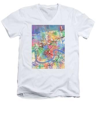 New Orleans Street Map Men's V-Neck T-Shirt