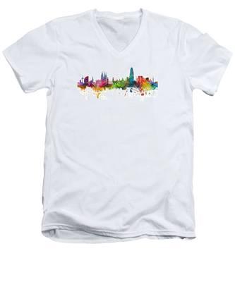 Barcelona Spain Skyline Panoramic Men's V-Neck T-Shirt