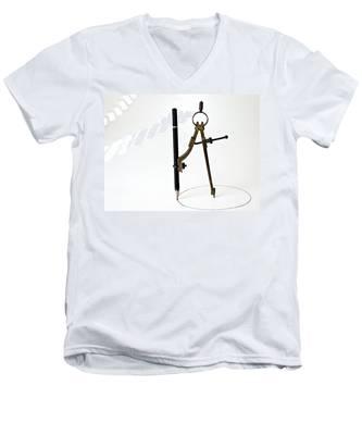 Brass Compass And Pencil Men's V-Neck T-Shirt