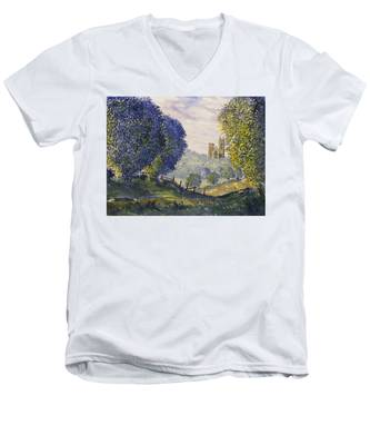 Bridlington Priory From Woldgate On The Hockney Trail Men's V-Neck T-Shirt