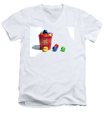 Coloured Baubles In A Pot Men's V-Neck T-Shirt