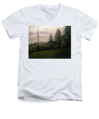 Flag Pole At Harborview Park Men's V-Neck T-Shirt