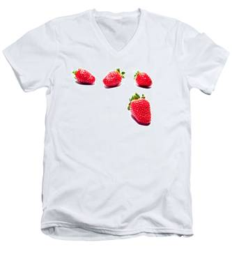 Four Strawberries Men's V-Neck T-Shirt