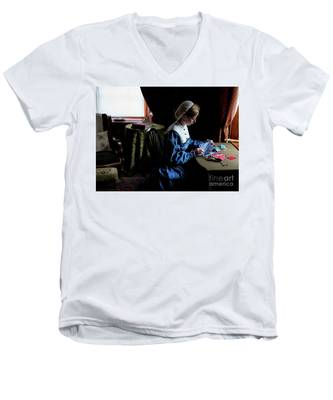 Girl Sewing Men's V-Neck T-Shirt