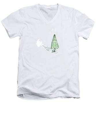 Green Bead Christmas Tree II Men's V-Neck T-Shirt