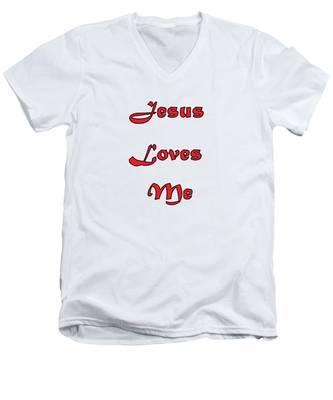 Jesus Loves Me Men's V-Neck T-Shirt