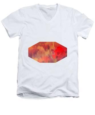 Landscape Of Dreaming Poppies Men's V-Neck T-Shirt