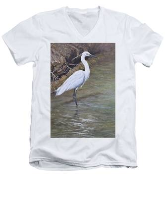 Little Egret Men's V-Neck T-Shirt