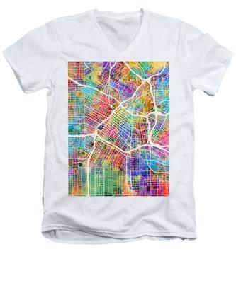 Los Angeles City Street Map Men's V-Neck T-Shirt