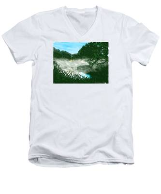 Mist On The River Ouse Men's V-Neck T-Shirt